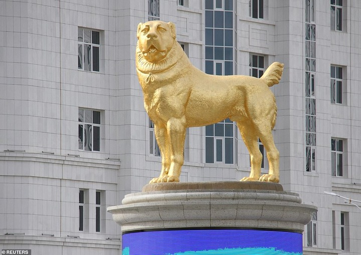 Turkmenistan president, Gurbanguly Berdimuhamedow unveils massive golden statue of his favourite dog breed in the country