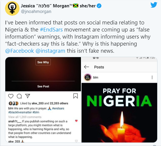 "?Instagram apologizes to Nigerians for incorrectly flagging down posts in support of #EndSARS campaign as ""false information""?"