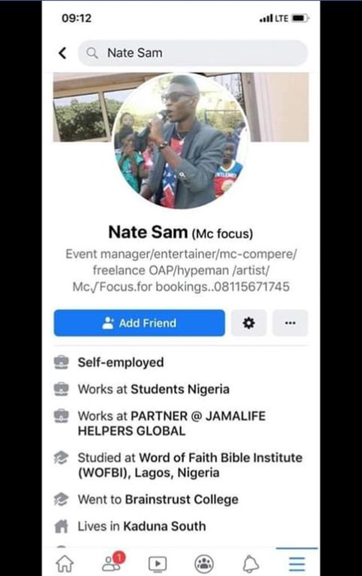 Check out Facebook Page of Kaduna Bomber Nate Samuel: Is he really a Christian?