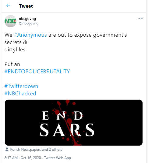 """""""Hacktivist"""" group, Anonymous hacks National Broadcasting Commission?s Twitter account in support of #EndSARS campaign"""