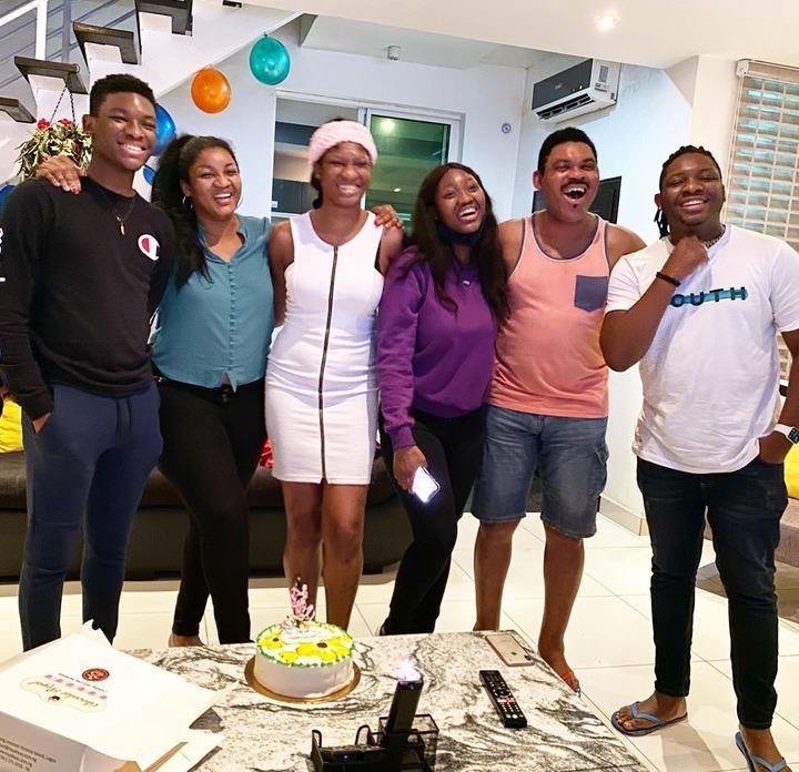 Photo: Omotola Jalada Ekeinde reunited with her family