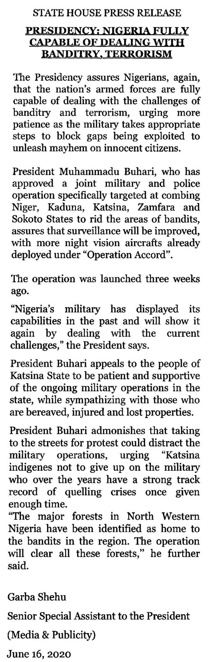 Buhari's statement on joint military and police operation