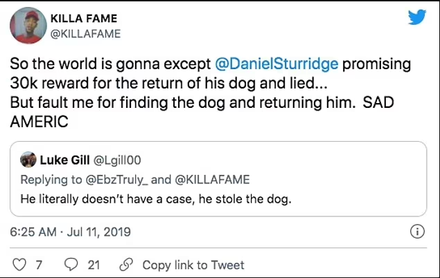 Update: Footballer, Daniel Sturridge is being sued for failing to pay ?26,000 reward to man who found his lost Pomeranian dog in Los Angeles in 2019?