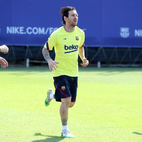 Messi training ahead of Bilbao's game