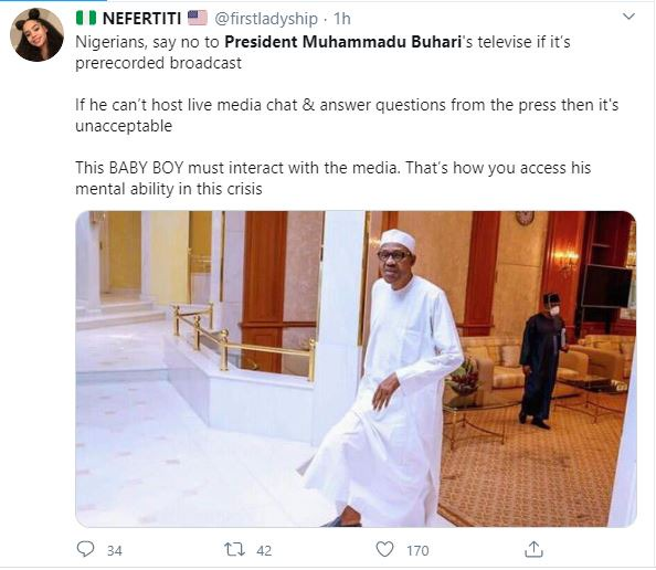 59d878c09ed4f61ad854337d39fdeba2?quality=uhq&resize=720 - Nigerians Mocks President Buhari As He Addresses The Nation By 7 pm