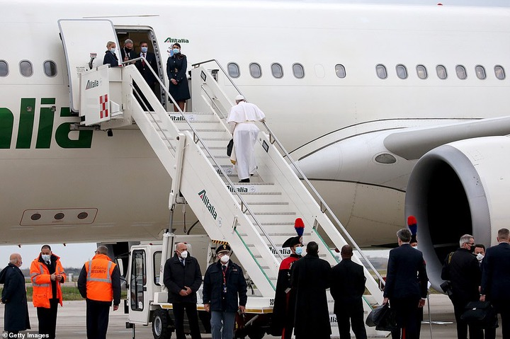 Pope Francis departs from Rome for historic first-ever visit by a pontiff to Iraq (photos)