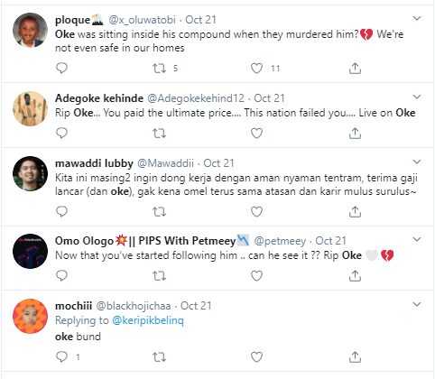 Twitter users mourn #EndSARS protester, Oke, who was allegedly shot dead in Lagos three hours after tweeting
