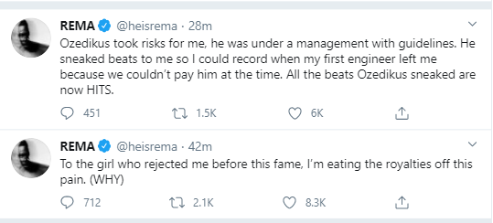 Singer, Rema goes on lengthy Twitter rant