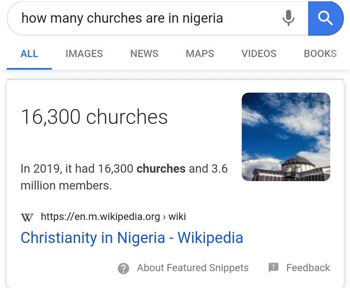 total churches in Nigeria