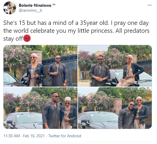 """All predators stay off"" - Nollywood actor, Bolanle Ninalowo warns as he shares new photos with his 15-year old daughter"