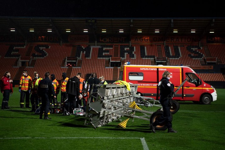 FC Lorient groundsman tragically dies after a floodlight bar falls on him on the pitch in a freak accident (photos)