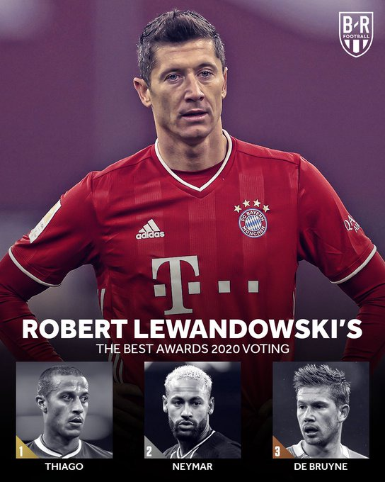 Lewandowski: (Thiago Alcantara, Neymar Jr. and De Bruyne)