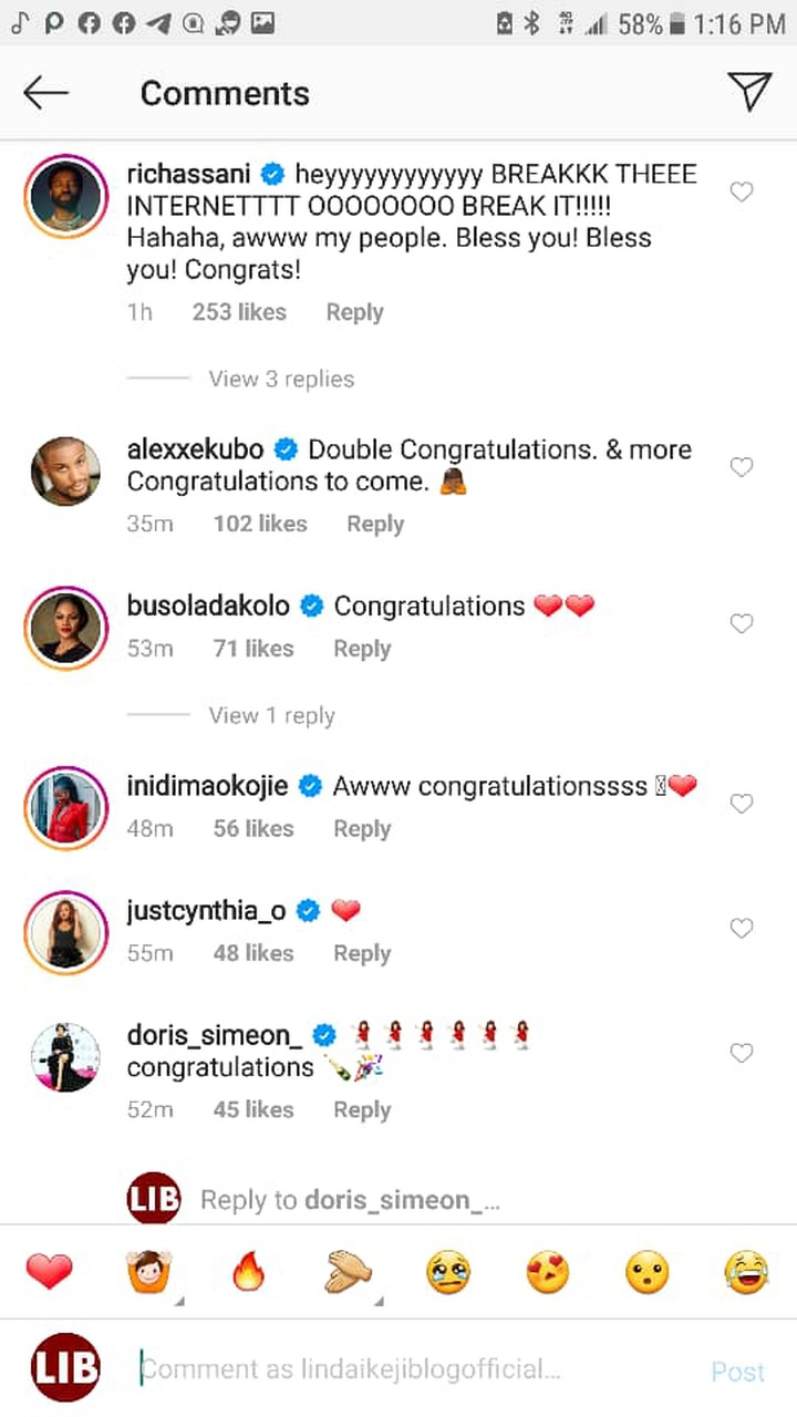 Ebuka, Toke Makinwa, Mo Abudu, others congratulate Banky W and Adesua Etomi on the birth of their first child