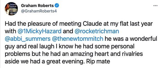 Popular football pundit and lifelong Arsenal fan, Claude Callegari dies at 58, after posting a tweet saying