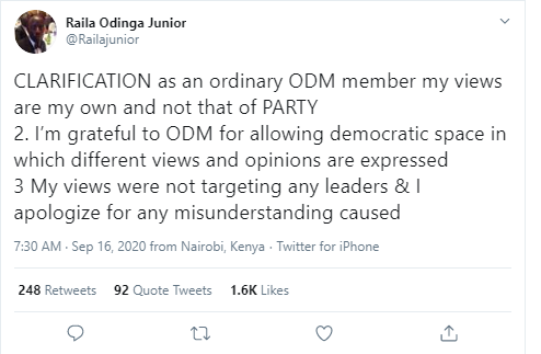 b8730099258bdb9d78cebe584ef3fc9a?quality=uhq&resize=720 - Raila Junior stirs mixed reactions after offering clarification and apology over his controversial tweet hitting Raila's handsmen