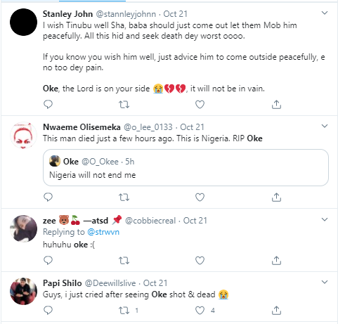 """Twitter users mourn #EndSARS protester, Oke, who was allegedly shot dead in Lagos three hours after tweeting """"Nigeria will not end me"""""""