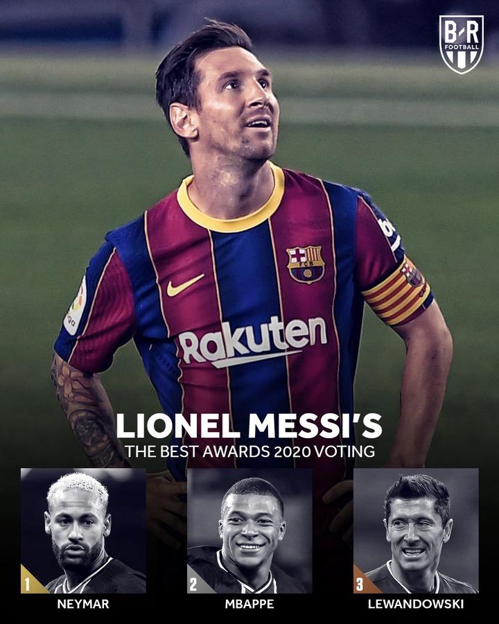 Messi: (Neymar Jr., Kylian Mbappe and Robert Lewandowski)