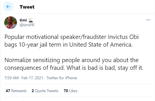 The painful thing is that he was giving motivational speeches to people struggling to make it legally - Nigerians react as Invictus Obi gets 10-year jail term for fraud in U.S.