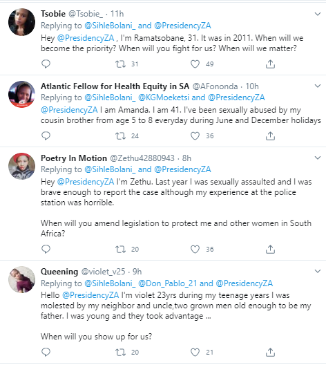 More than 70 women from South Africa share their rape stories on Twitter as they appeal to the presidency for help