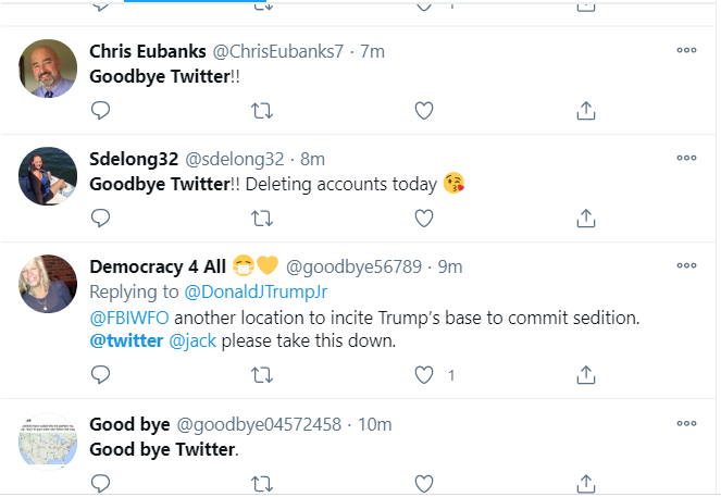 Trump die-hard fans ditch Twitter en masse after his suspension from the platform