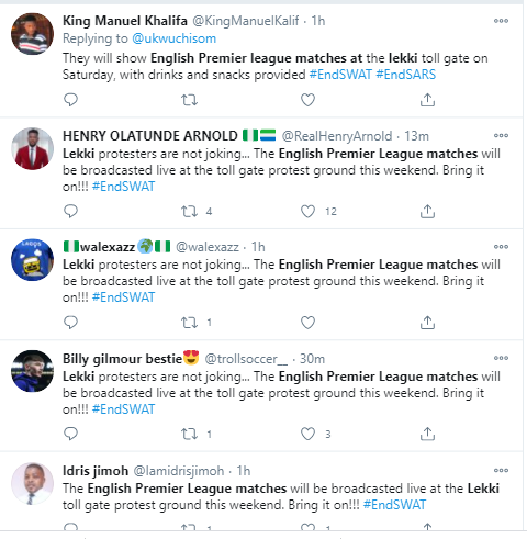 EndSARS protesters to watch all English Premier League matches at Lekki toll gate this weekend