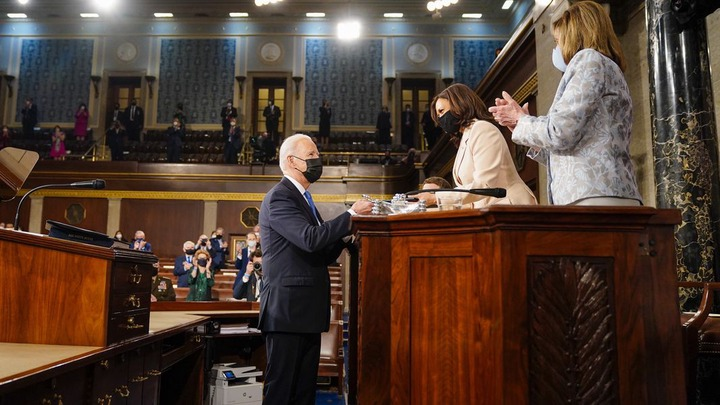 Kamala Harris and Nancy Pelosi make history as the first women to lead Senate at US President Joe Biden