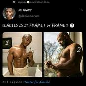 Boys keep quite and take notes, ladies which frame do you go with, 1 or 2?