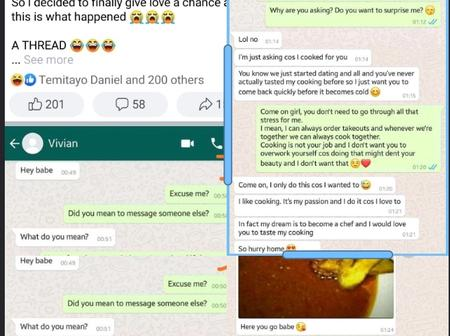 Checkout The Hilarious Exchange Between a Lady and a Man In a New Relationship {Screenshots}