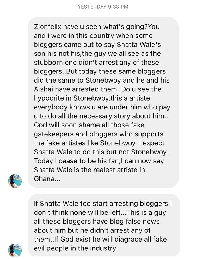 01afaa866573319344ff775f79f70dfe?quality=uhq&resize=720 - Stonebwoy Is A Hypocrite To Arrest A Blogger Over False News, Shatta Will Never Do That - Angry Fan