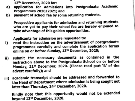 Important Information for All Postgraduate Students and Applicants of Unilorin