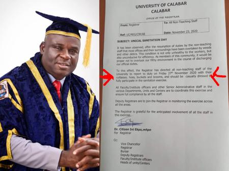 A University in Calabar Ask All Staffs to Come to school with Brooms and cutlasses