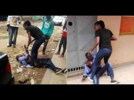 Woman Beats Up Husband With Bottle After He Failed To Give Her Rent Money.