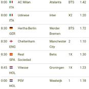 Sure Bets that you are Assured of Winning Ksh 11000 in today matches