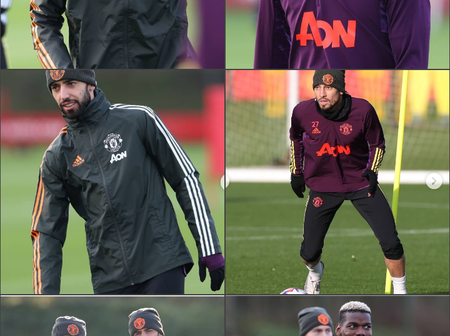 Paul Pogba, Bruno, Telles, leads Man Utd players in training ahead of their Champions League game