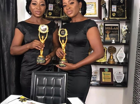 Patience Ozokwor congratulates the Aneke twins on their new award from SRTV Media.