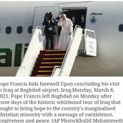 Pope returns to Rome after historical Iraq visit.
