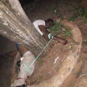 Ex husband beaten and hanged on a tree by community for abusing his ex wife after separation.