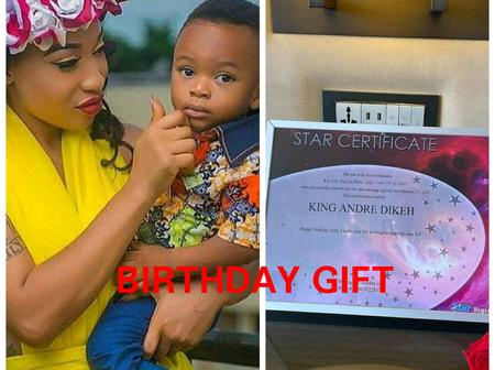 See The Gift Tonto Dikeh Gave Her Son, King Andre As He Turns 5 Today
