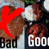 Check Out These 2 Methods Of Serving Rice And Stew And Decide Which Of Them Is Better?