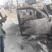Violence socio-politique/Des individus mettent le feu à un véhicule de la Mairie de Port Bouet