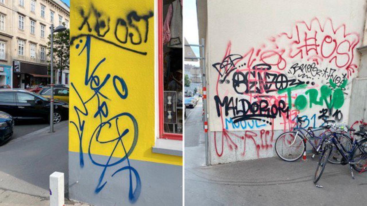 60 illegale Graffiti in Umkreis von wenigen Metern