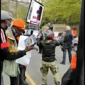 Video: How Anti-Buhari Protesters Chased Away Pro-Buhari Rented Crowd At Abuja House In London