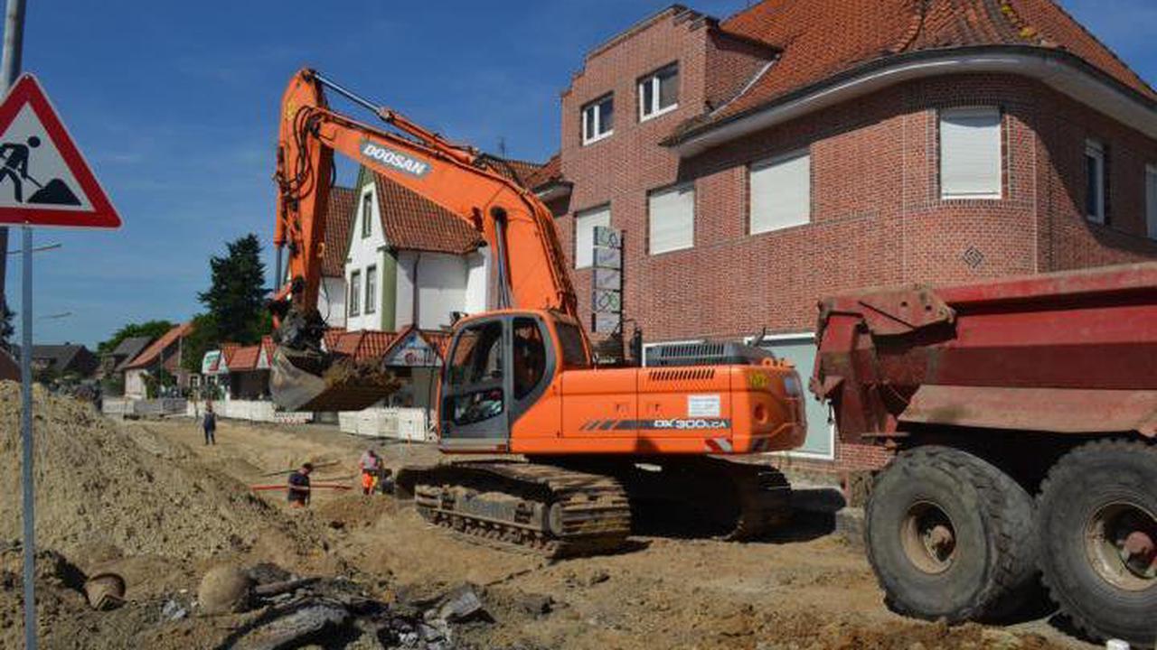 Sperrung an der Baustelle Wehmer Straße in Werlte