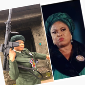See Reaction As Sola Sobowale Shares Pictures Of Herself, With a Heavy Gun