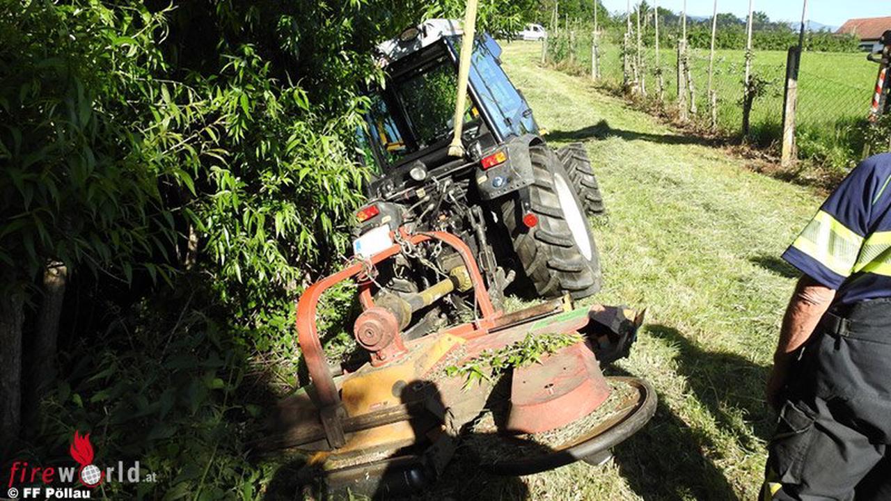 Stmk: Traktor-Bergung und gebrochener Lkw-Kranarm in Pöllau