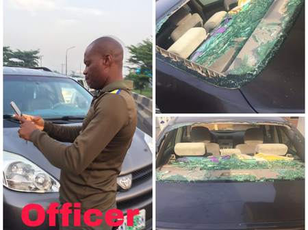 Officer bashed his car while trying to overtake driver at Berger, See Wat he did to the driver's car