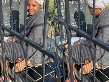 Opinion: Was it necessary for Skeem Saam actress Mapitsi to take pictures next to grave like this?