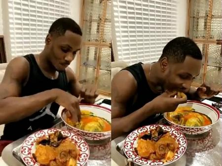 Video: Moment Football Player, Ighalo Was Recorded Enjoying Himself With Amala, Ewedu & Gbegiri Soup