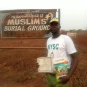 The Corper That Took His Certificate To His Mother Cemetery After POP, Says He Will Make Her Proud.