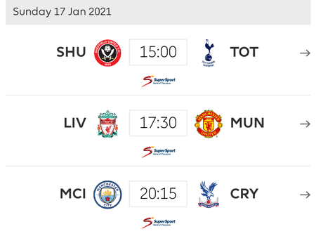 Premier League Weekend matches for week 19